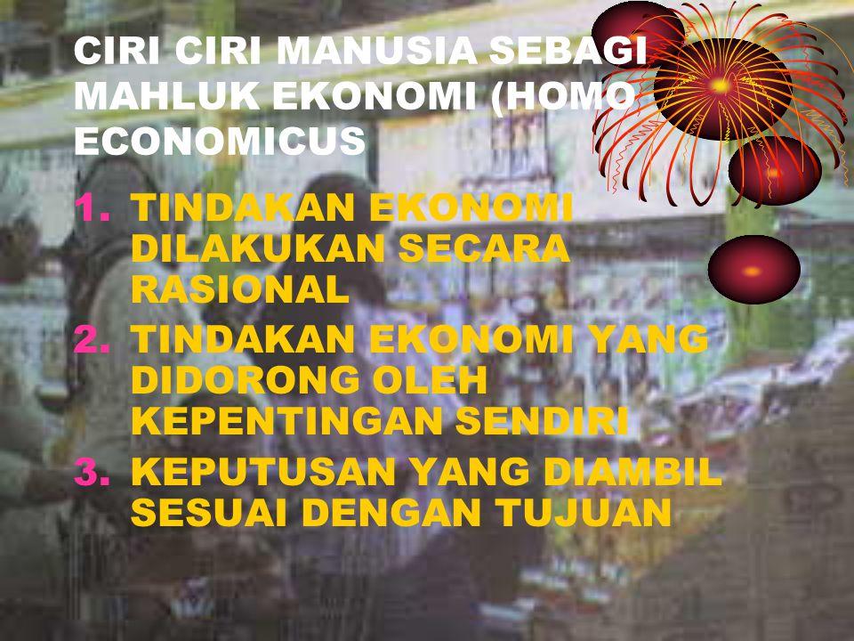 CIRI CIRI MANUSIA SEBAGI MAHLUK EKONOMI (HOMO ECONOMICUS