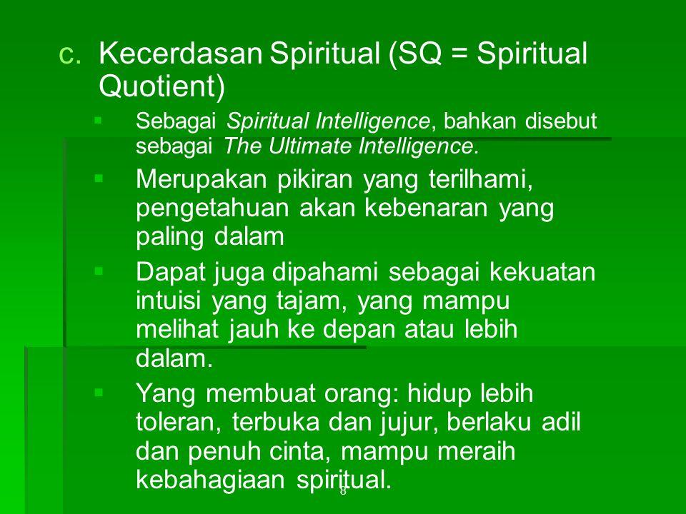 Kecerdasan Spiritual (SQ = Spiritual Quotient)