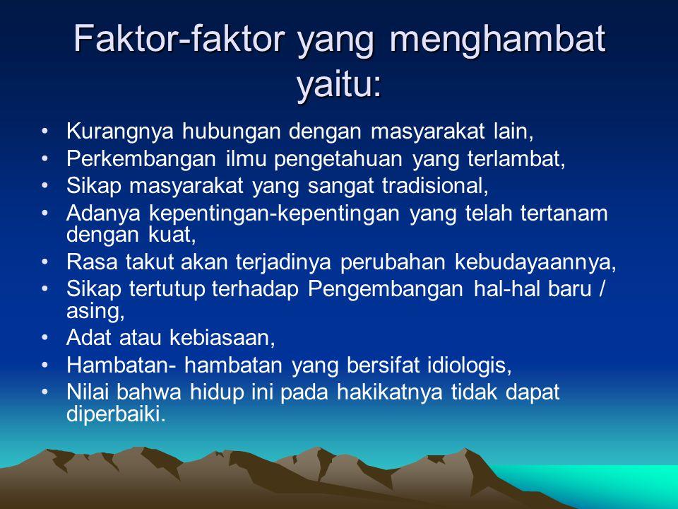 Faktor-faktor yang menghambat yaitu: