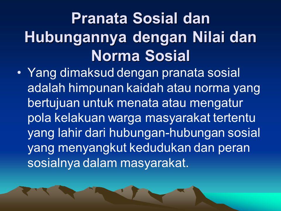 Pranata Sosial dan Hubungannya dengan Nilai dan Norma Sosial
