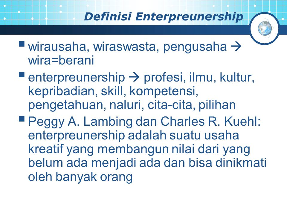 Definisi Enterpreunership