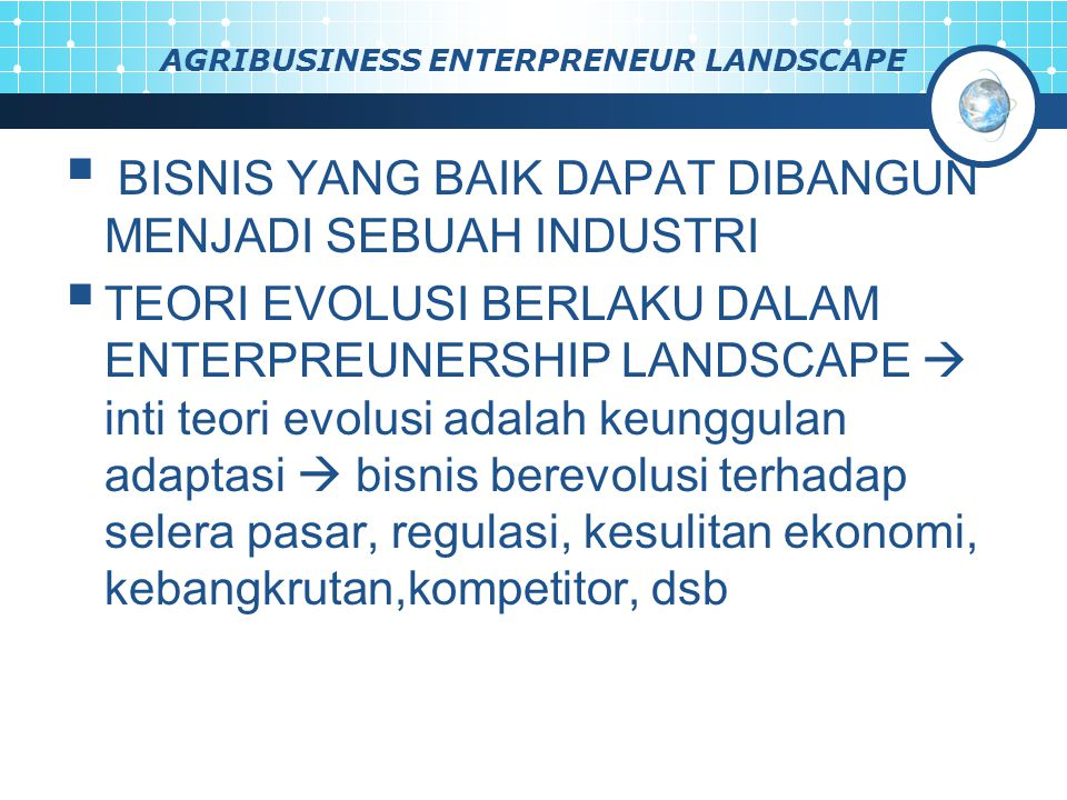 AGRIBUSINESS ENTERPRENEUR LANDSCAPE