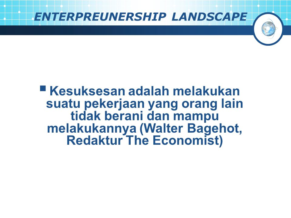 ENTERPREUNERSHIP LANDSCAPE
