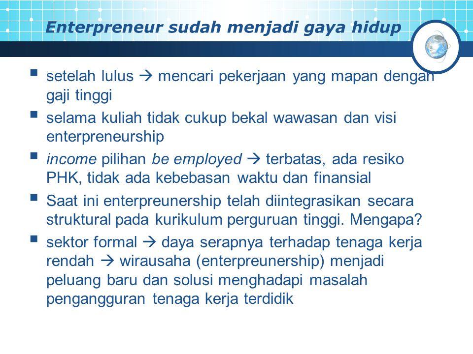 Enterpreneur sudah menjadi gaya hidup
