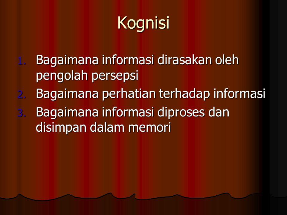 Kognisi Bagaimana informasi dirasakan oleh pengolah persepsi