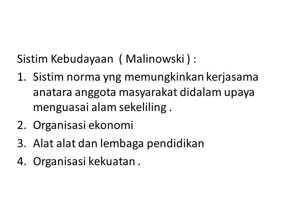 Sistim Kebudayaan ( Malinowski ) :