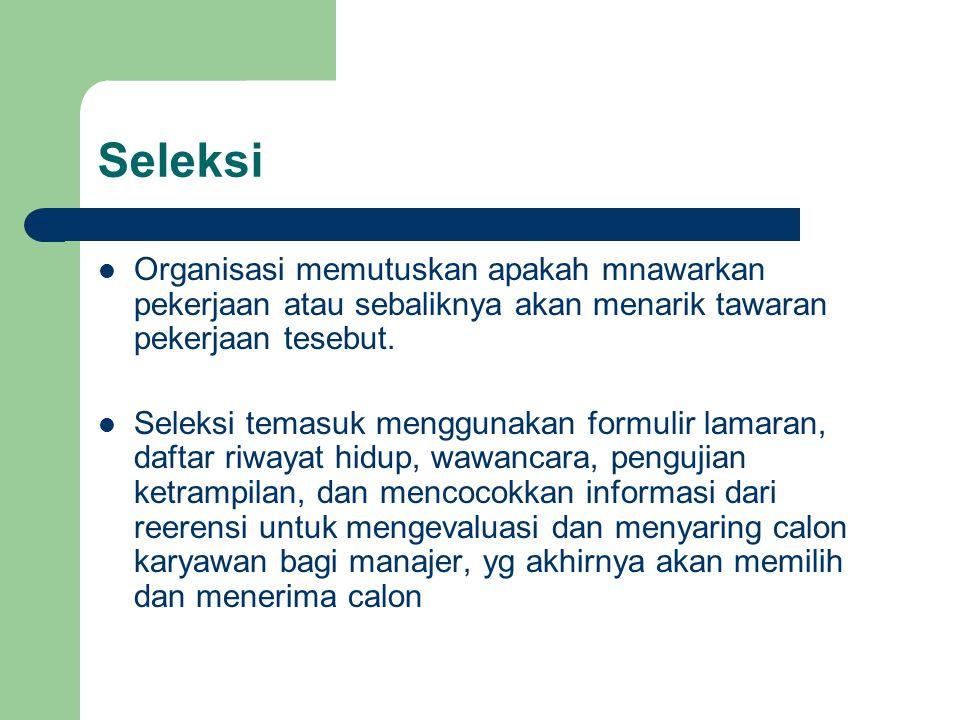 Seleksi Organisasi memutuskan apakah mnawarkan pekerjaan atau sebaliknya akan menarik tawaran pekerjaan tesebut.