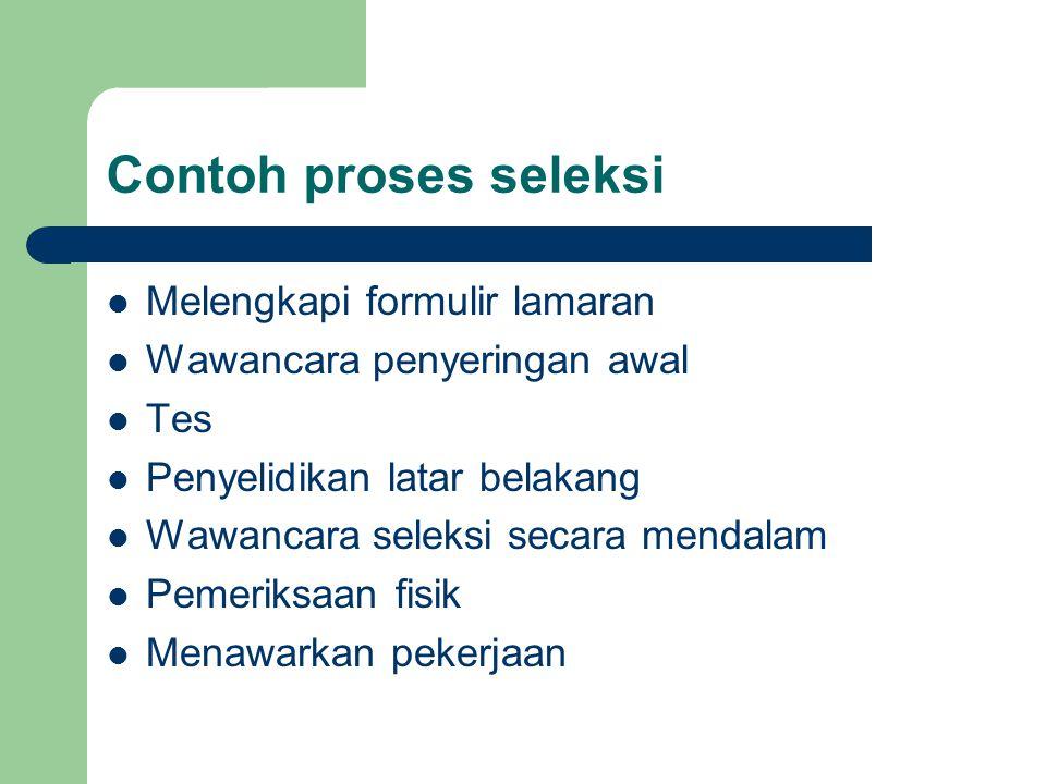 Contoh proses seleksi Melengkapi formulir lamaran