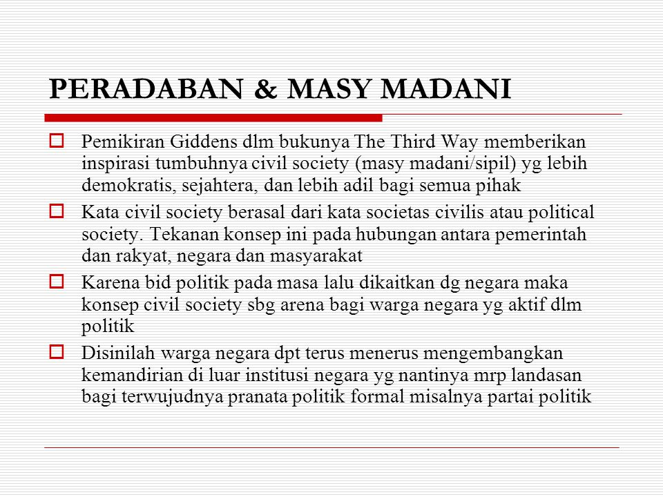 PERADABAN & MASY MADANI