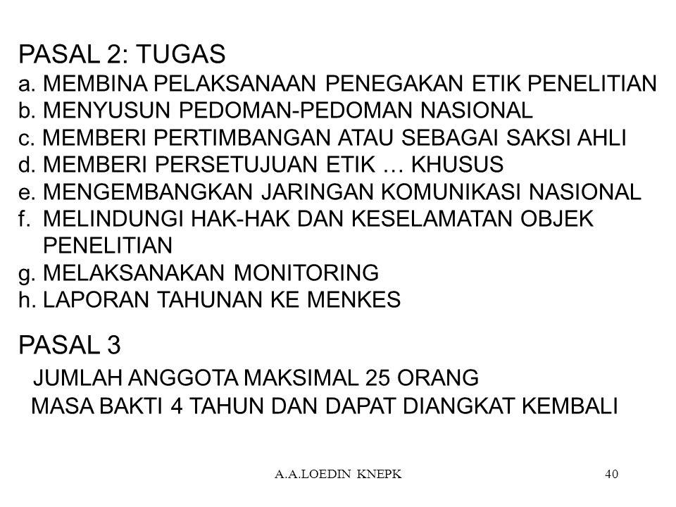 PASAL 2: TUGAS a. MEMBINA PELAKSANAAN PENEGAKAN ETIK PENELITIAN b