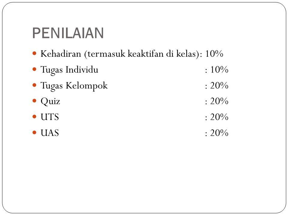 PENILAIAN Kehadiran (termasuk keaktifan di kelas): 10%