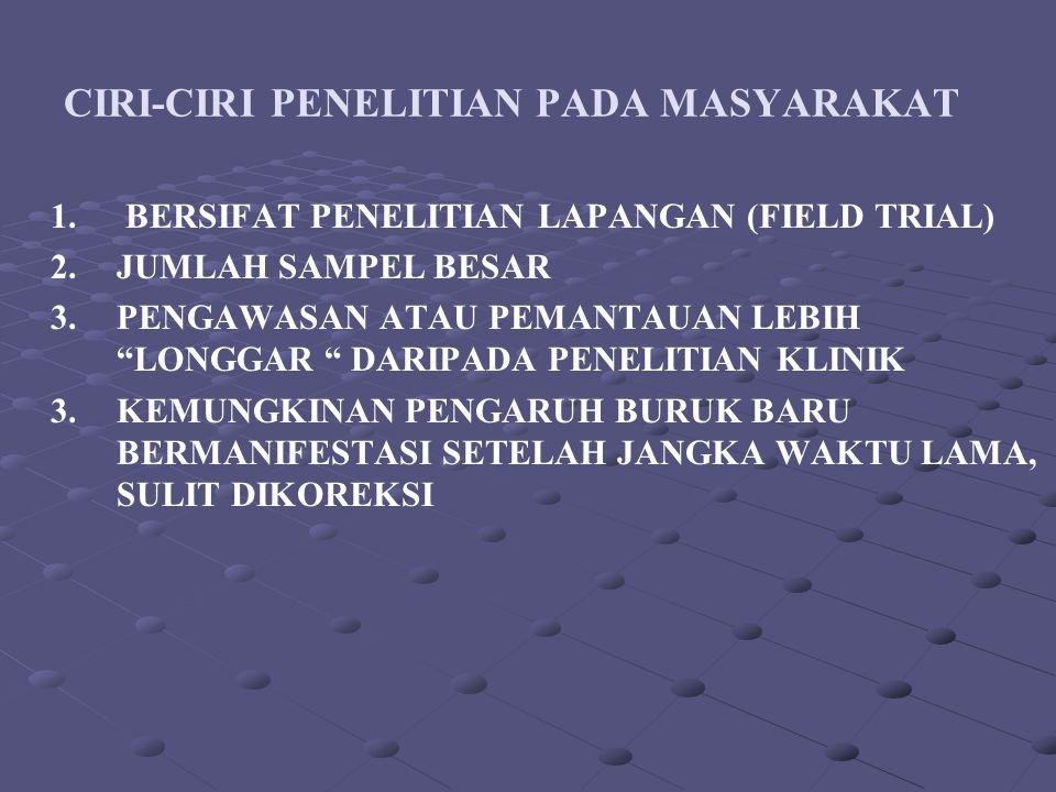 CIRI-CIRI PENELITIAN PADA MASYARAKAT