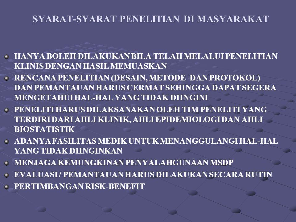 SYARAT-SYARAT PENELITIAN DI MASYARAKAT
