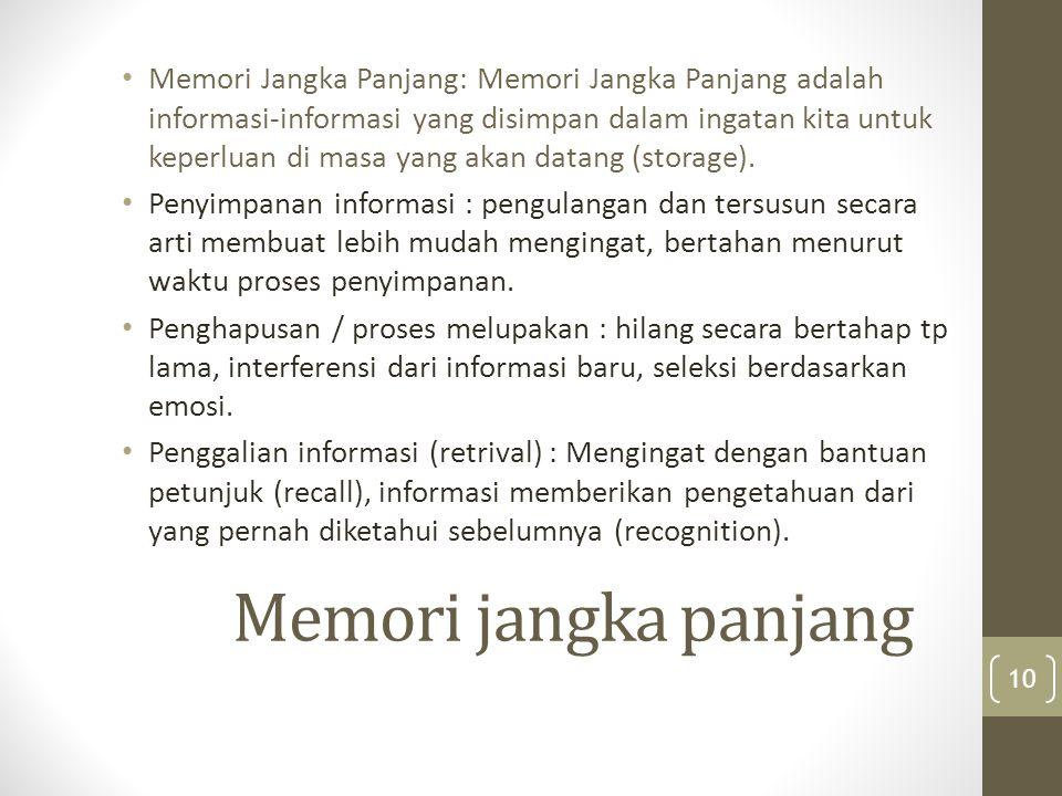 Memori Jangka Panjang: Memori Jangka Panjang adalah informasi-informasi yang disimpan dalam ingatan kita untuk keperluan di masa yang akan datang (storage).