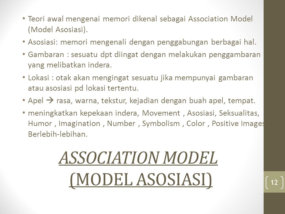ASSOCIATION MODEL (MODEL ASOSIASI)