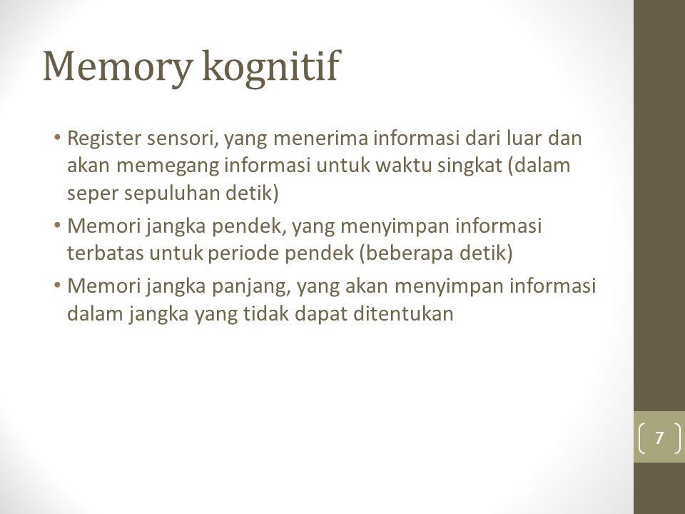 Memory kognitif Register sensori, yang menerima informasi dari luar dan akan memegang informasi untuk waktu singkat (dalam seper sepuluhan detik)