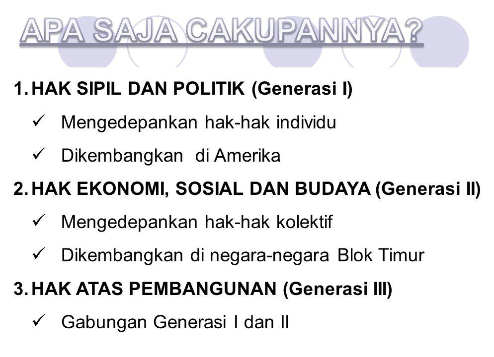 APA SAJA CAKUPANNYA HAK SIPIL DAN POLITIK (Generasi I)
