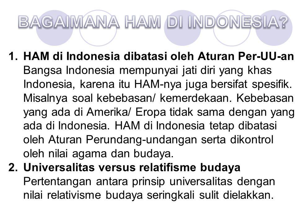 1. HAM di Indonesia dibatasi oleh Aturan Per-UU-an