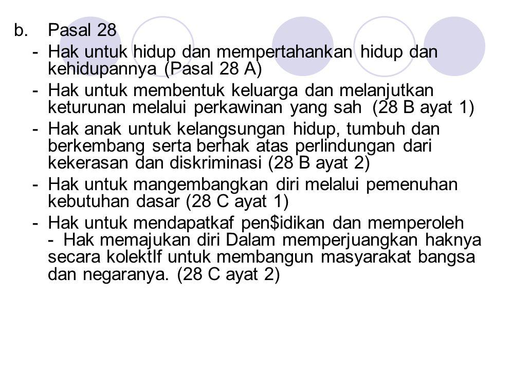 b. Pasal 28 - Hak untuk hidup dan mempertahankan hidup dan kehidupannya (Pasal 28 A)