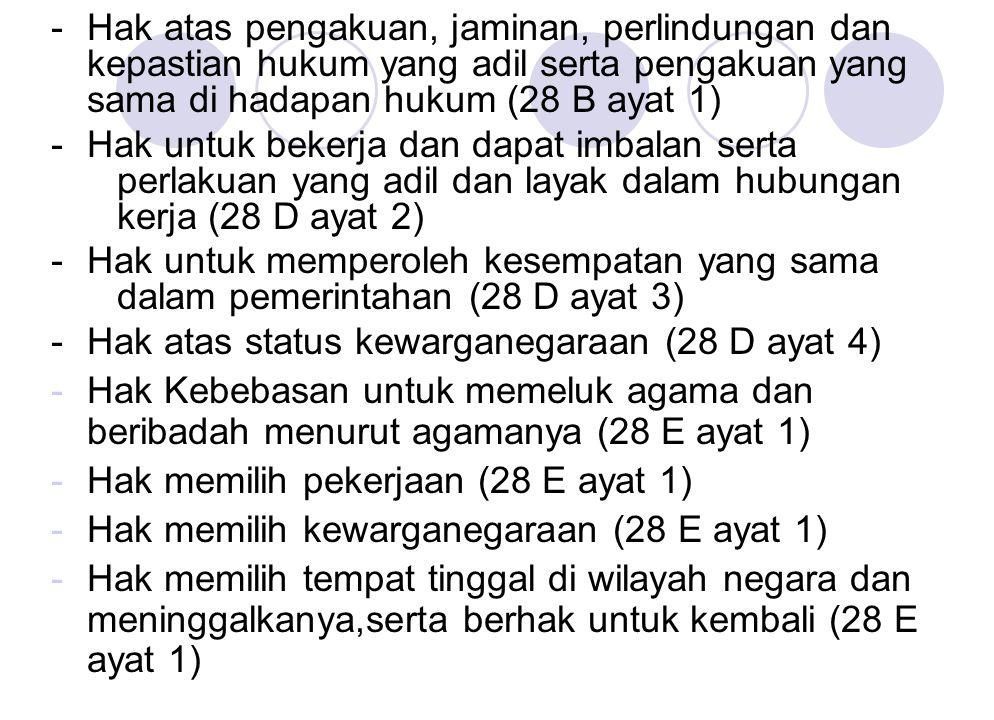 - Hak atas pengakuan, jaminan, perlindungan dan kepastian hukum yang adil serta pengakuan yang sama di hadapan hukum (28 B ayat 1)