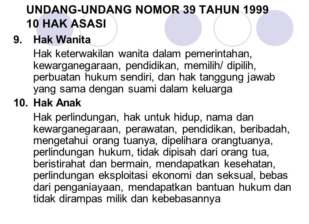 UNDANG-UNDANG NOMOR 39 TAHUN 1999 10 HAK ASASI