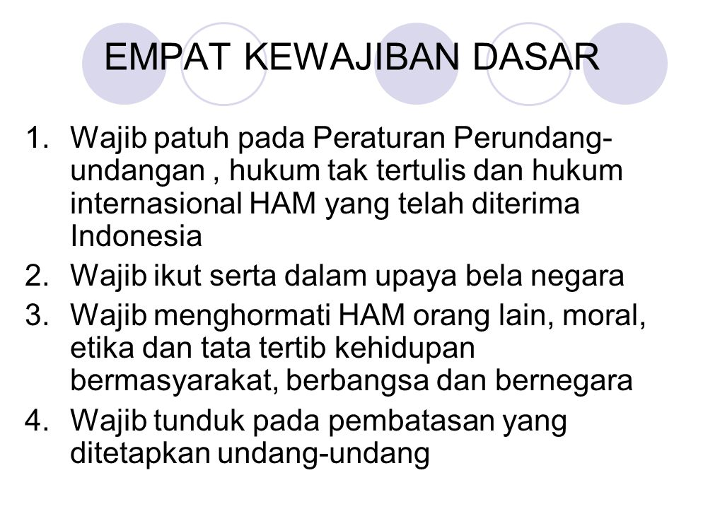 EMPAT KEWAJIBAN DASAR 1. Wajib patuh pada Peraturan Perundang-undangan , hukum tak tertulis dan hukum internasional HAM yang telah diterima Indonesia.