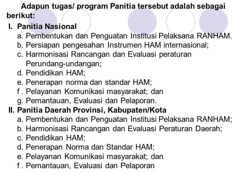 Adapun tugas/ program Panitia tersebut adalah sebagai berikut: