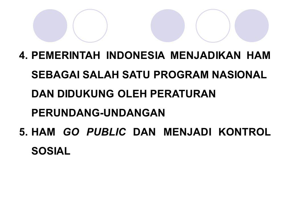 4. PEMERINTAH INDONESIA MENJADIKAN HAM