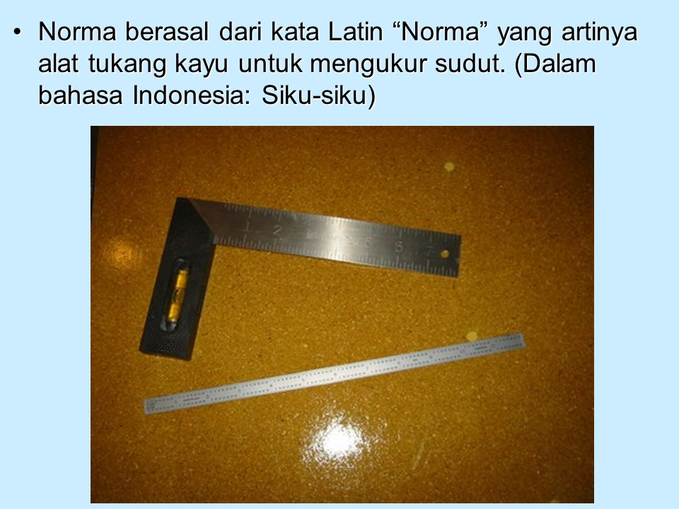 Norma berasal dari kata Latin Norma yang artinya alat tukang kayu untuk mengukur sudut.