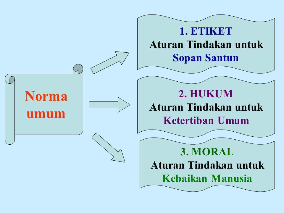 Norma umum 1. ETIKET Aturan Tindakan untuk Sopan Santun 2. HUKUM