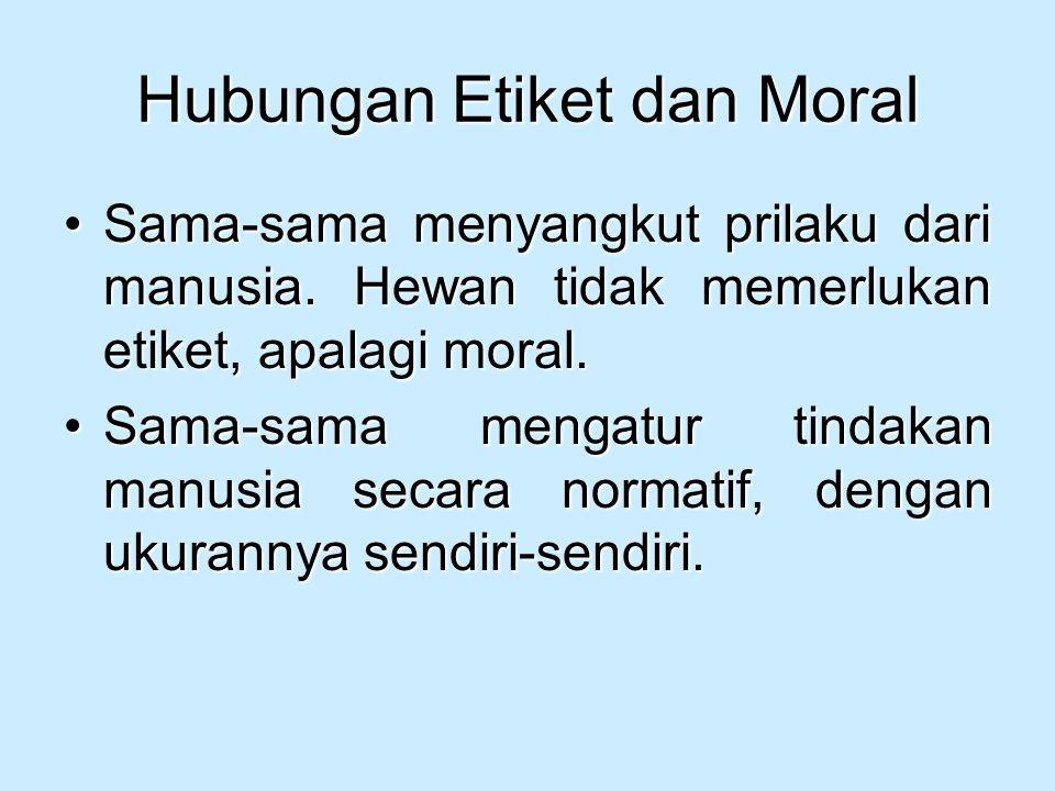 Hubungan Etiket dan Moral