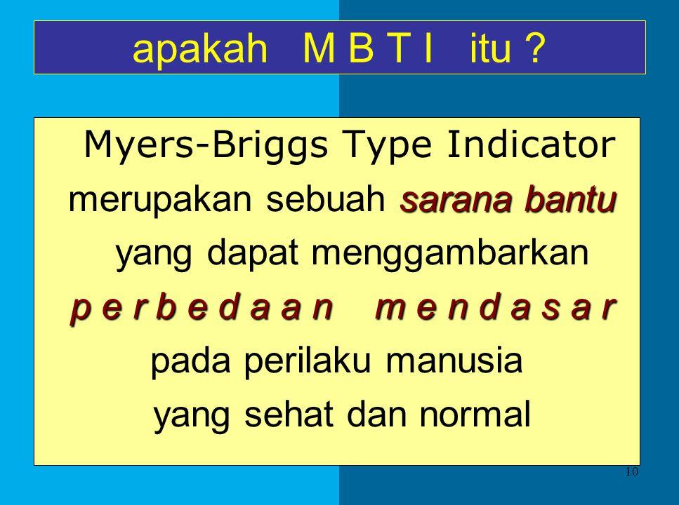 apakah M B T I itu Myers-Briggs Type Indicator