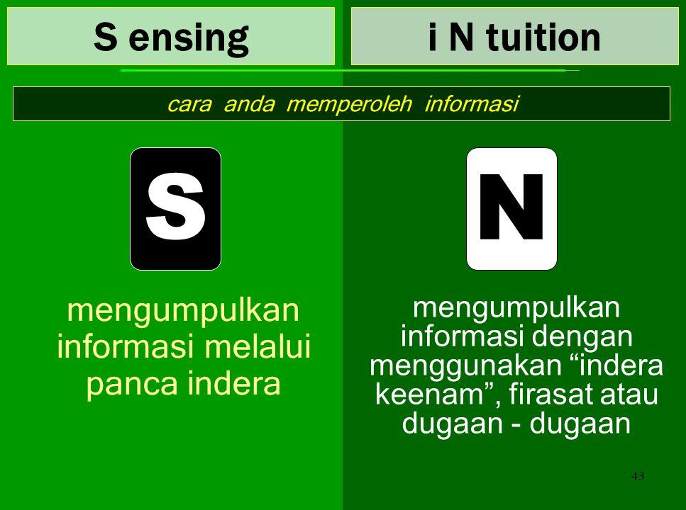S N S ensing i N tuition mengumpulkan informasi melalui panca indera