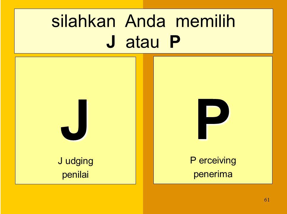 silahkan Anda memilih J atau P