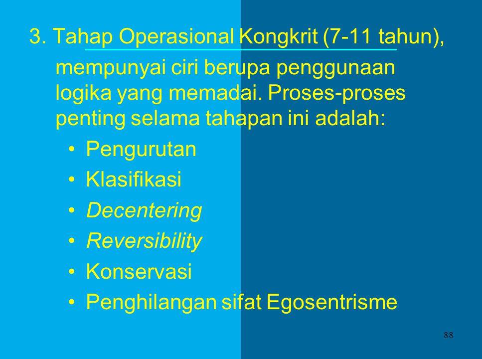 3. Tahap Operasional Kongkrit (7-11 tahun),