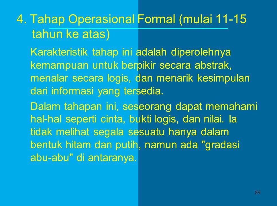 4. Tahap Operasional Formal (mulai 11-15 tahun ke atas)