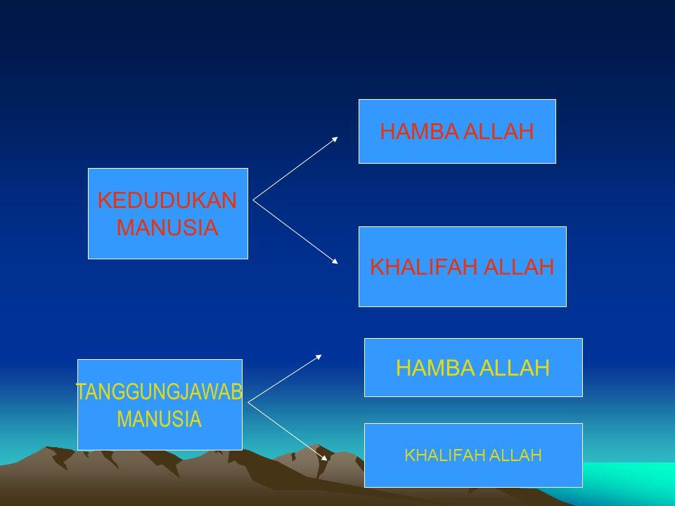 HAMBA ALLAH KEDUDUKAN MANUSIA KHALIFAH ALLAH HAMBA ALLAH TANGGUNGJAWAB