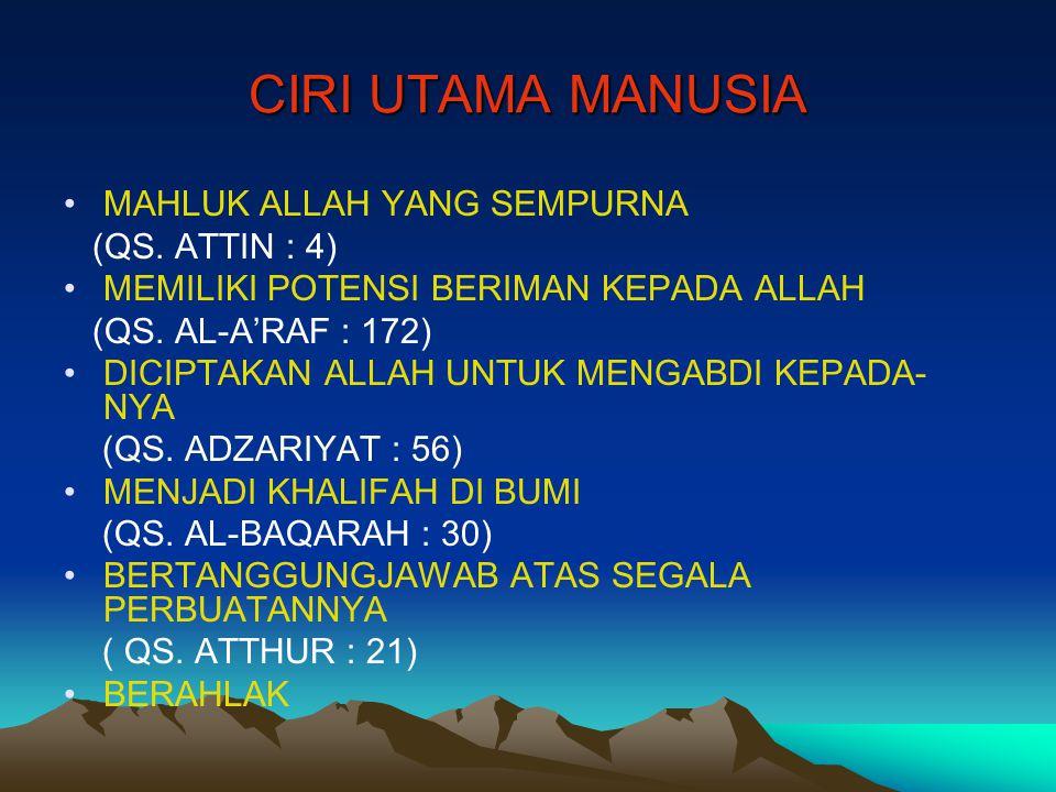 CIRI UTAMA MANUSIA MAHLUK ALLAH YANG SEMPURNA (QS. ATTIN : 4)