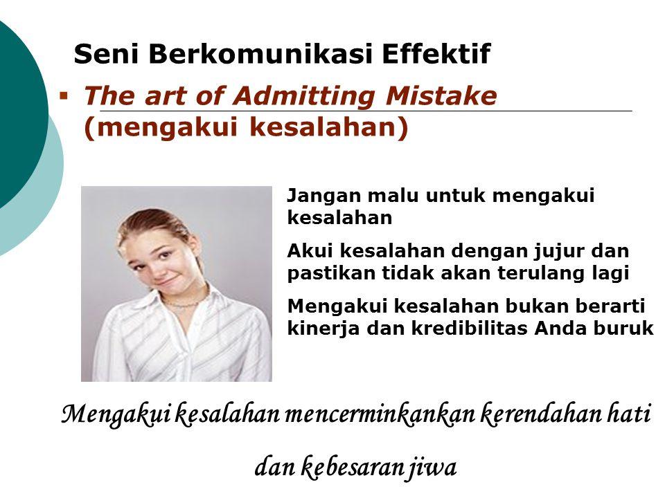 Mengakui kesalahan mencerminkankan kerendahan hati