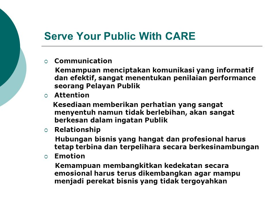 Serve Your Public With CARE