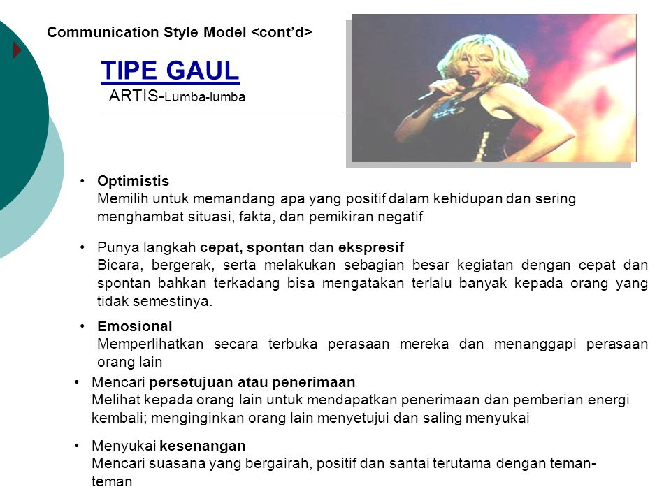 TIPE GAUL ARTIS-Lumba-lumba Communication Style Model <cont'd>