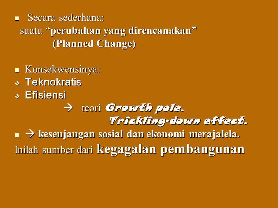 Secara sederhana: suatu perubahan yang direncanakan (Planned Change) Konsekwensinya: Teknokratis.