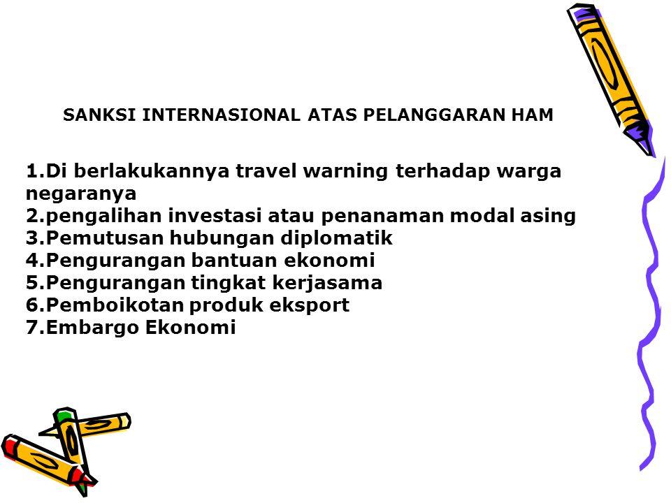 1.Di berlakukannya travel warning terhadap warga negaranya