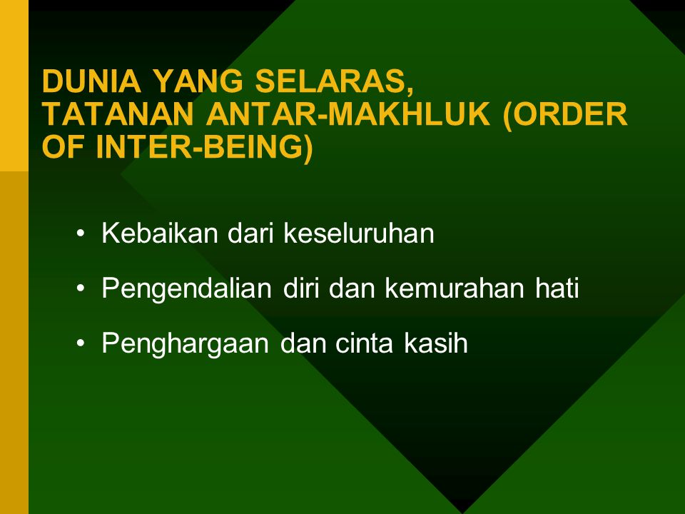 DUNIA YANG SELARAS, TATANAN ANTAR-MAKHLUK (ORDER OF INTER-BEING)