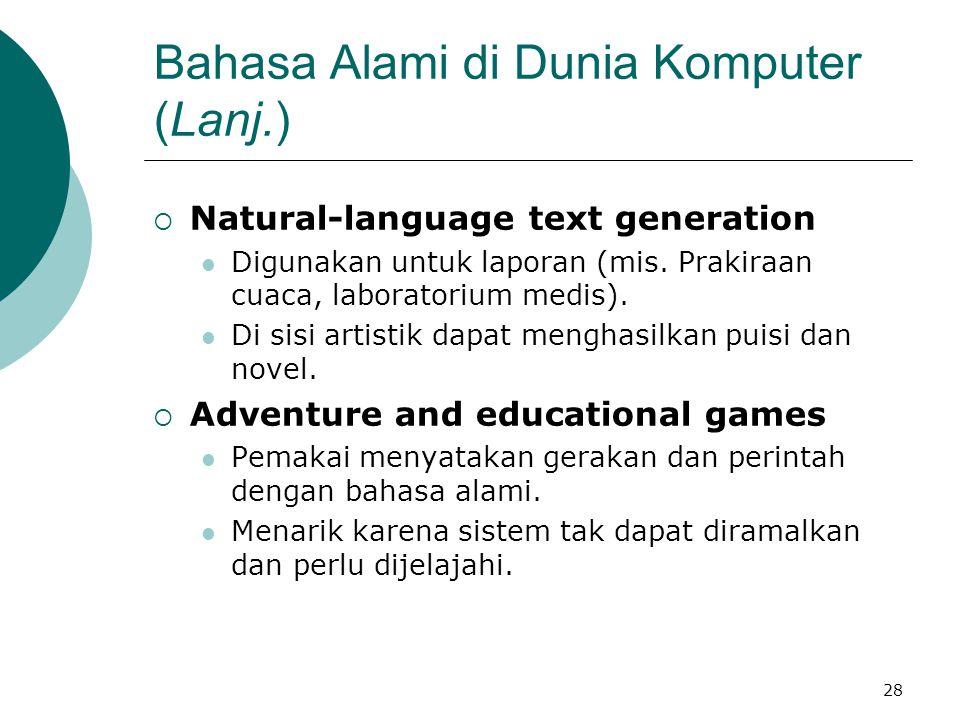 Bahasa Alami di Dunia Komputer (Lanj.)