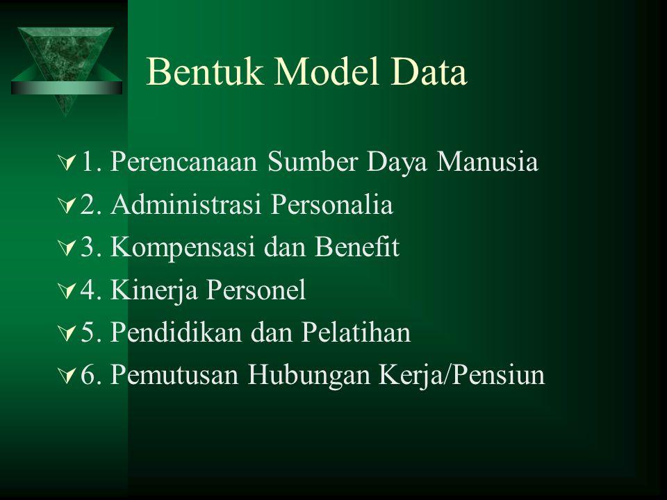 Bentuk Model Data 1. Perencanaan Sumber Daya Manusia