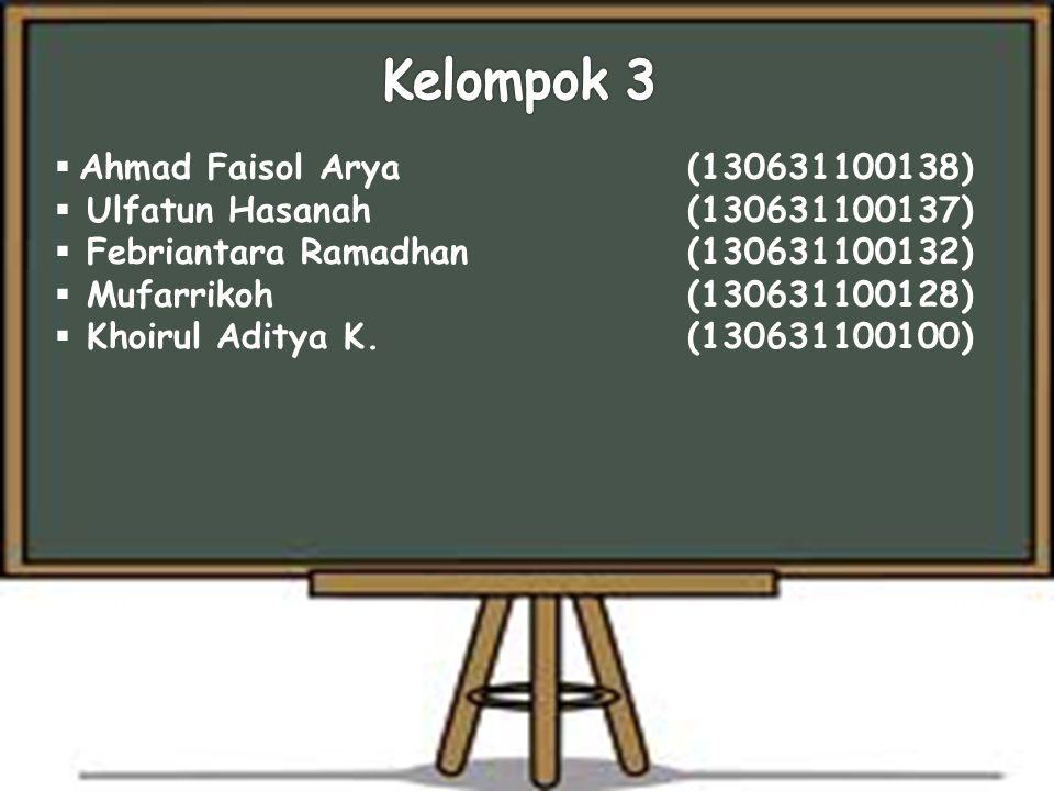 Kelompok 3 Ahmad Faisol Arya (130631100138)
