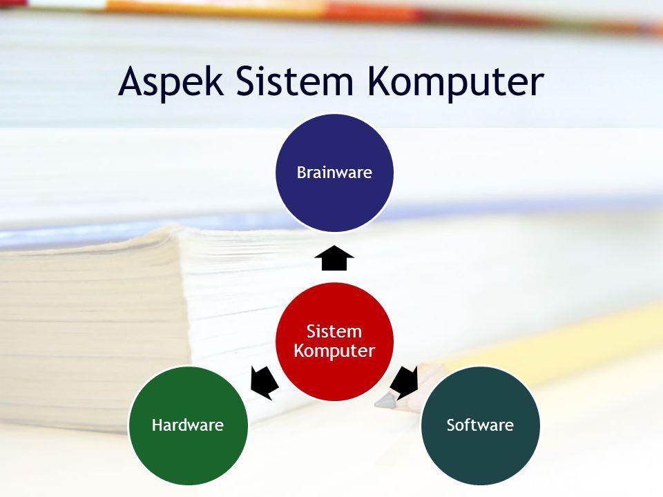 Aspek Sistem Komputer Sistem Komputer Brainware Software Hardware