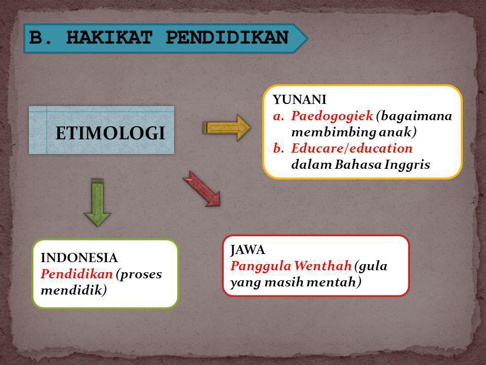 B. HAKIKAT PENDIDIKAN ETIMOLOGI YUNANI