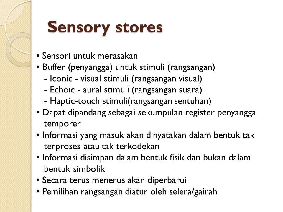 Sensory stores • Sensori untuk merasakan